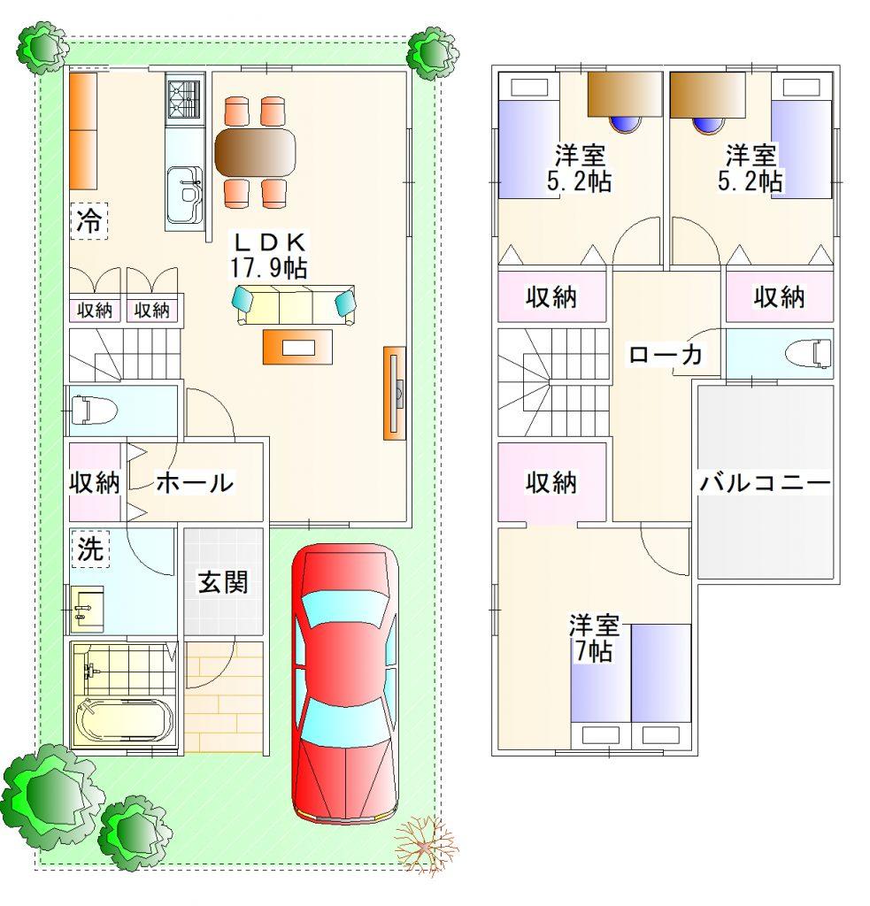 リブテラス藤阪東町の平面図